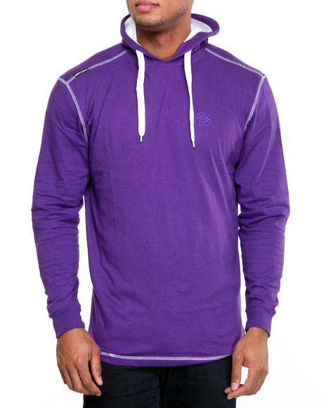 Enyce Men Purple Solid Jersey Pullover Shirt