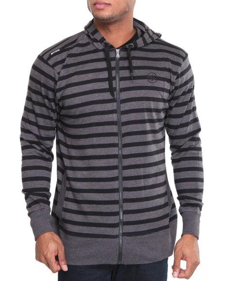 Enyce Men Charcoal Stripe Jersey Hoodie