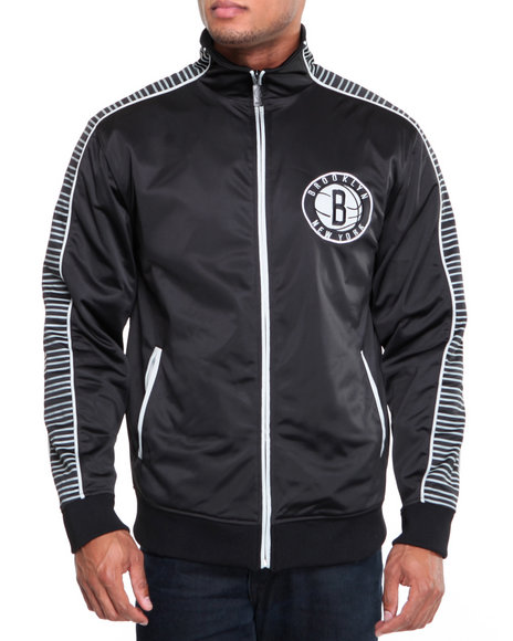Nba, Mlb, Nfl Gear - Men Black Brooklyn Nets Tigerland Track Jacket