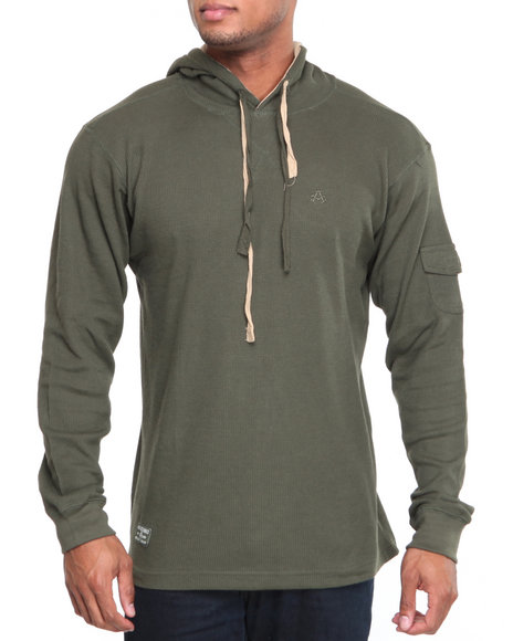 Akademiks Men Olive Takeover L/S Thermal Hoodie