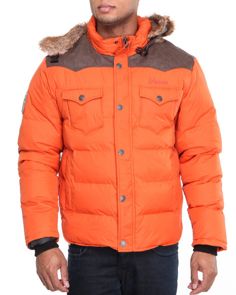 winchester burnt orange bubble jacket w/ attached hoodie w/ faux fur trim