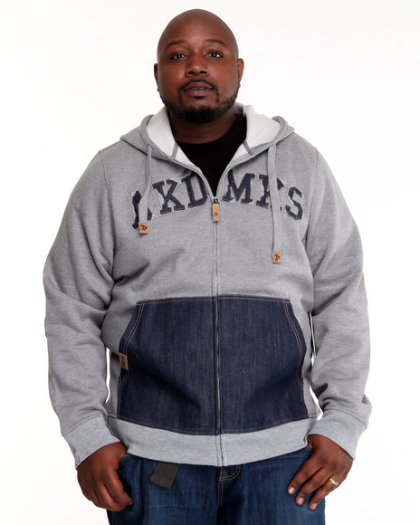 - Heavyweight Fleece Full Zip w/ Denim Detail (B&T)