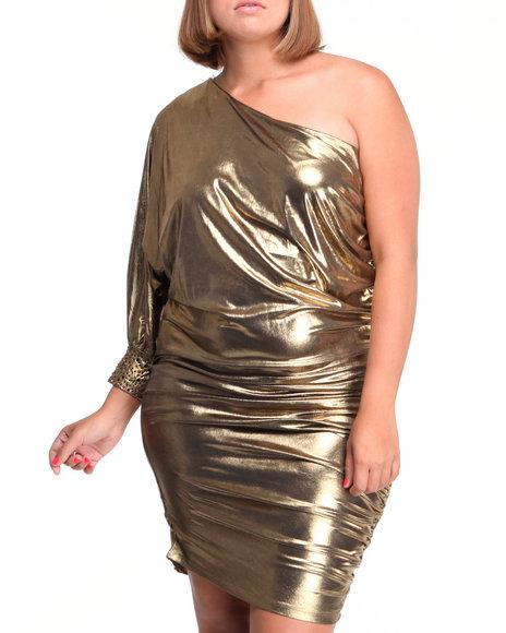 Baby Phat Women Gold One Shoulder Foil Dress (Plus Size)
