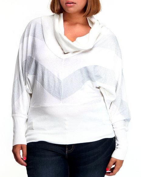 Baby Phat Women White Chevron Sweater (Plus Size)