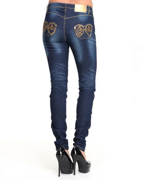 Apple Bottoms - Gold Embroidery Pocket Skinny Jean