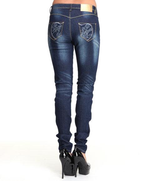 Apple Bottoms Women Medium Wash Split Logo Pocket Skinny Jean