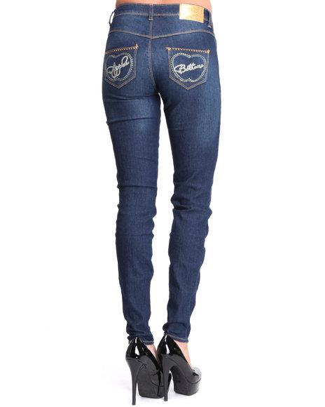 Apple Bottoms Women Dark Wash Split Logo Pocket Skinny Jean