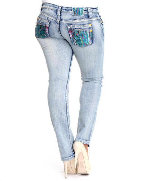 COOGI Women Light Wash Coogi Washed Out Embroidered Pocket Skinny Jean