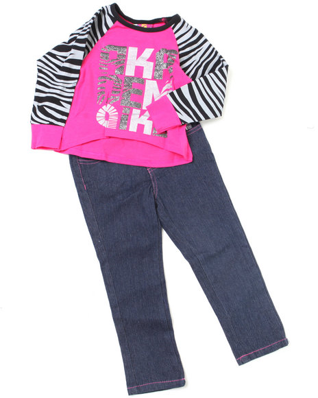 - 2pc Zebra Print Top and Denim Set (NB)