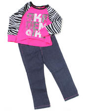 4-6X Little Girls - 2pc Zebra Print Top and Denim Set (4-6X)