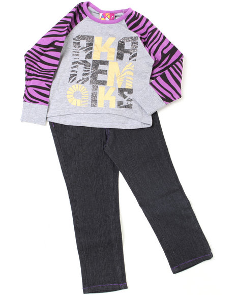 - 2pc Zebra Print Top and Denim Set (TOD)