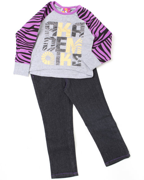 - 2pc Zebra Print Top and Denim Set (INF)