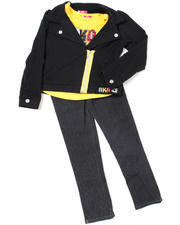 Girls - 3pc French Terry Jacket, Knit Top and Pant Set (4-6X)