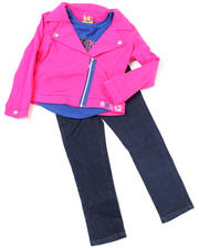Newborn - 3pc French Terry Jacket, Knit Top and Pant Set (NB)