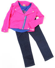 2T-4T Toddlers - 3pc French Terry Jacket, Knit Top and Pant Set (TOD)