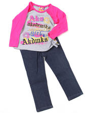 Girls - 2pc Ruched Top and Denim Set (INF)
