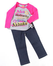 Girls - 2pc Ruched Top and Denim Set (TOD)