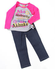 4-6X Little Girls - 2pc Ruched Top and Denim Set (4-6X)