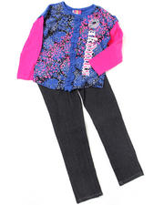 4-6X Little Girls - 2pc Long Sleeve Top and Denim Set (4-6X)