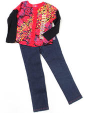 Girls - 2pc Long Sleeve Top and Denim Set (4-6X)