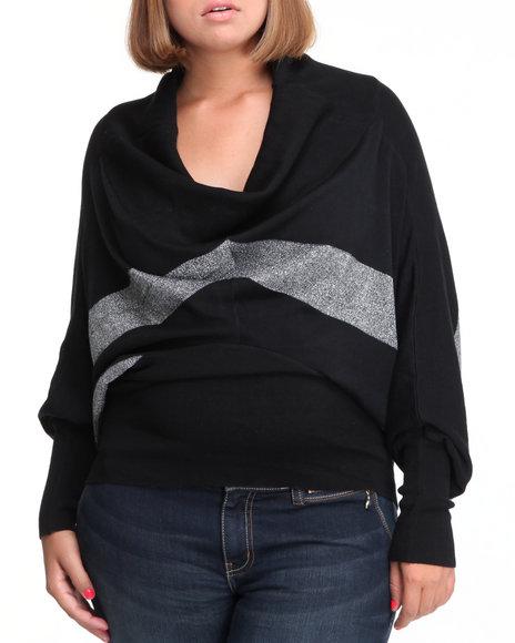 Baby Phat Women Black Chevron Sweater (Plus Size)