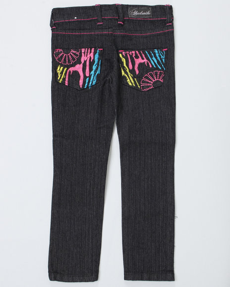 Akademiks Girls Black Zebra Jeans (4-6X)