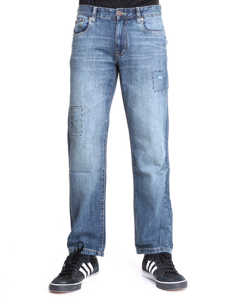 Akademiks - Men Dark Wash Barnett Vintage Washed Slim/Straight Fit Denim Jeans