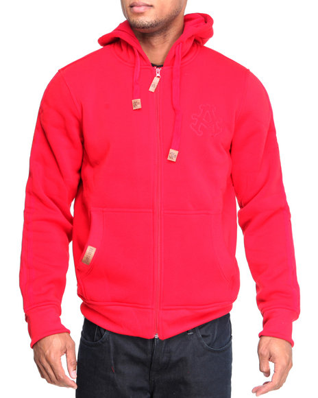 Akademiks - Men Red Carl Lewis Fleece Full Zip Hoodie