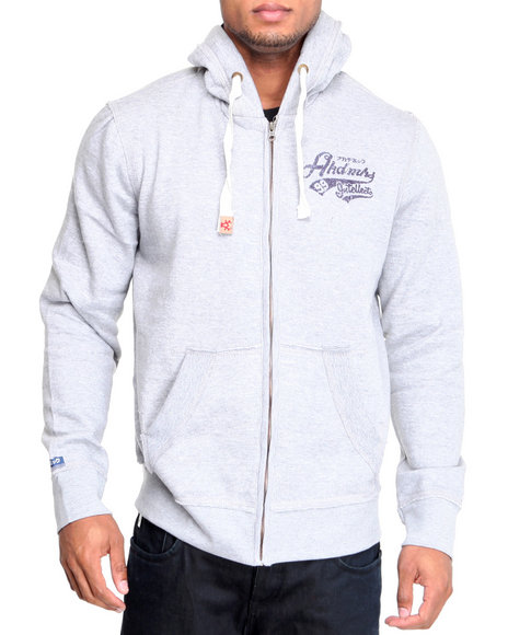 Akademiks Men Grey Spectator Print Full Zip Hoodie