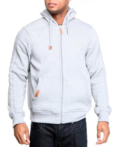 Akademiks Men Grey Carl Lewis Fleece Full Zip Hoodie