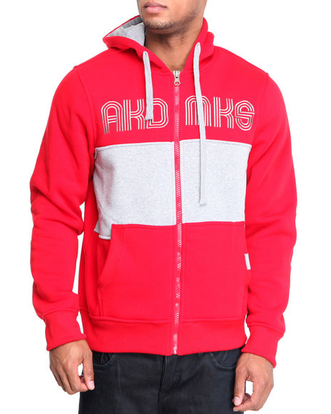 Akademiks - Men Red Coach Full Zip Fleece Jacket