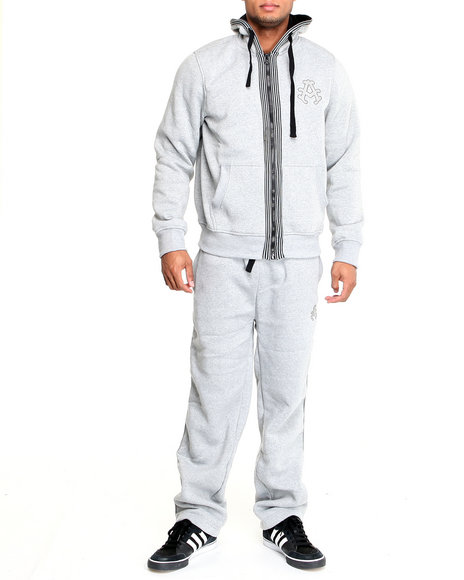 Akademiks Men Grey Long Jump Fleece Set