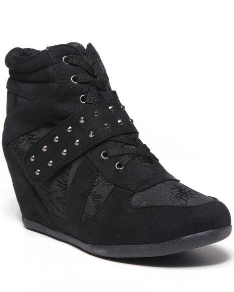 Apple Bottoms Women Black Tavie Signature Wedge Sneaker