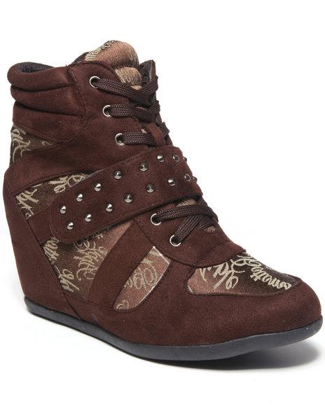 Apple Bottoms Women Brown Tavie Signature Wedge Sneaker