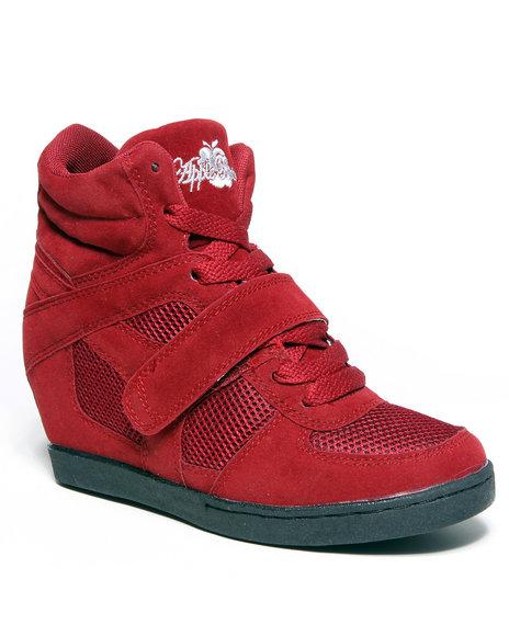 Apple Bottoms Women Red Karlee Wedge Sneaker