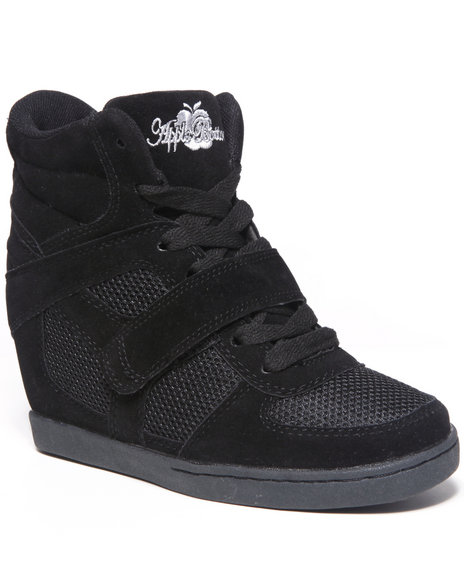 Apple Bottoms - Women Black Karlee Wedge Sneaker - $24.99