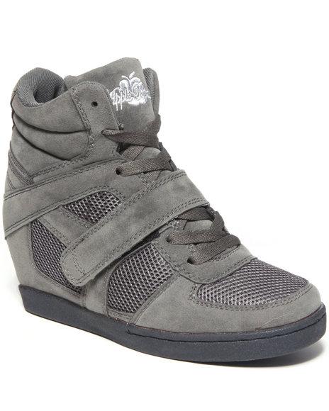 Apple Bottoms Women Charcoal Karlee Wedge Sneaker