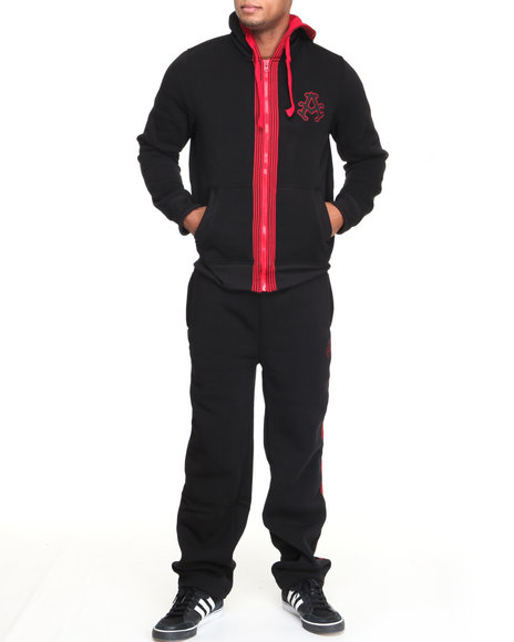 Akademiks Men Black Long Jump Fleece Set
