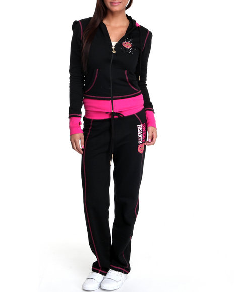 Ecko Red Women Black Long Sleeve Active Hoodie Set