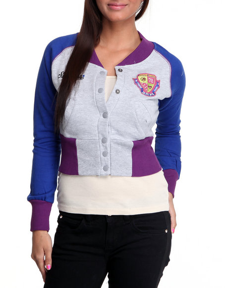 Ecko Red Women Grey Long Sleeve Colorblock Varsity Jacket Fleece