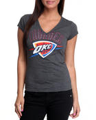 Women - V-Neck Thunder OKC Tee with Stones, Foil and Screen Print