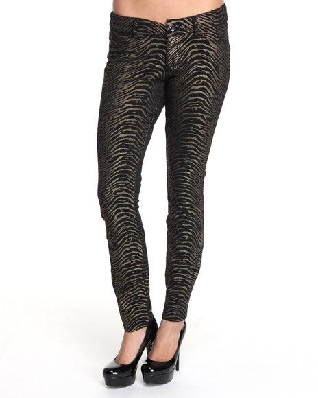 Baby Phat Women Black Zebra Ponte Pants