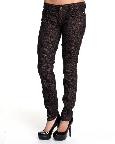 Baby Phat Women Gold Foil Snake Print Skinny Jeans