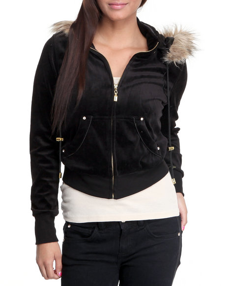 Baby Phat Women Black Velour Jacket With Faux Fur