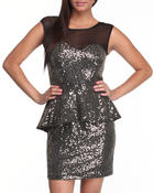 Women - PEPLUM SEQUIN DRESS