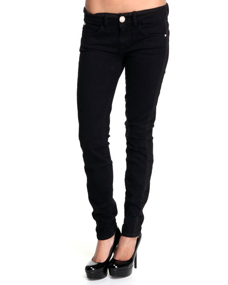 Baby Phat Women Black Tuxedo Skinny Jeans