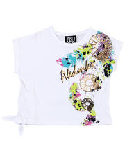 Girls - Feather Mess Side Tie Tee (4-6X)
