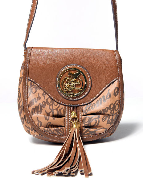 Apple Bottoms Women Tiffany Signature Logo Crossbody Brown
