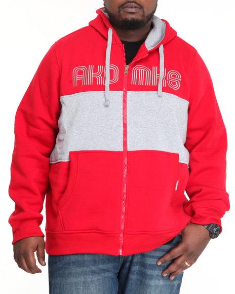 Akademiks Men Red Coach Full Zip Fleece Jacket (B&T)