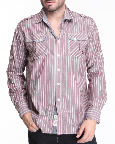 Akademiks Men Maroon Slick Button-Down Shirt